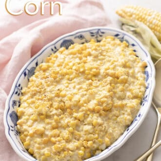 Creamed corn in a blue and white dish