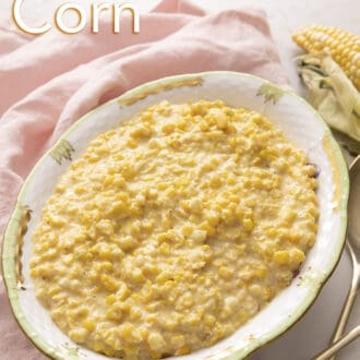 Creamed corn in a porcelain dish