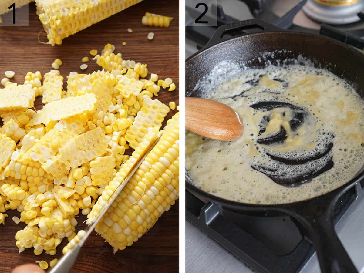 Corn kernels getting cut from the cob.