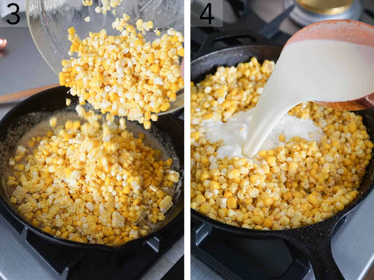 Creamed corn getting made in a skillet.