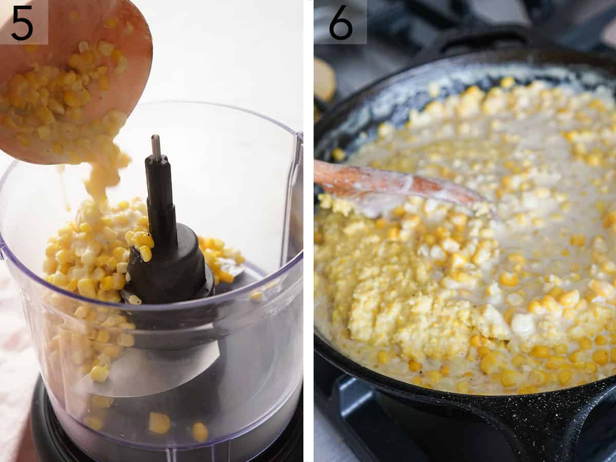 Creamed corn getting mixed in a skillet.