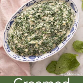 Creamed spinach in a blue and white bowl