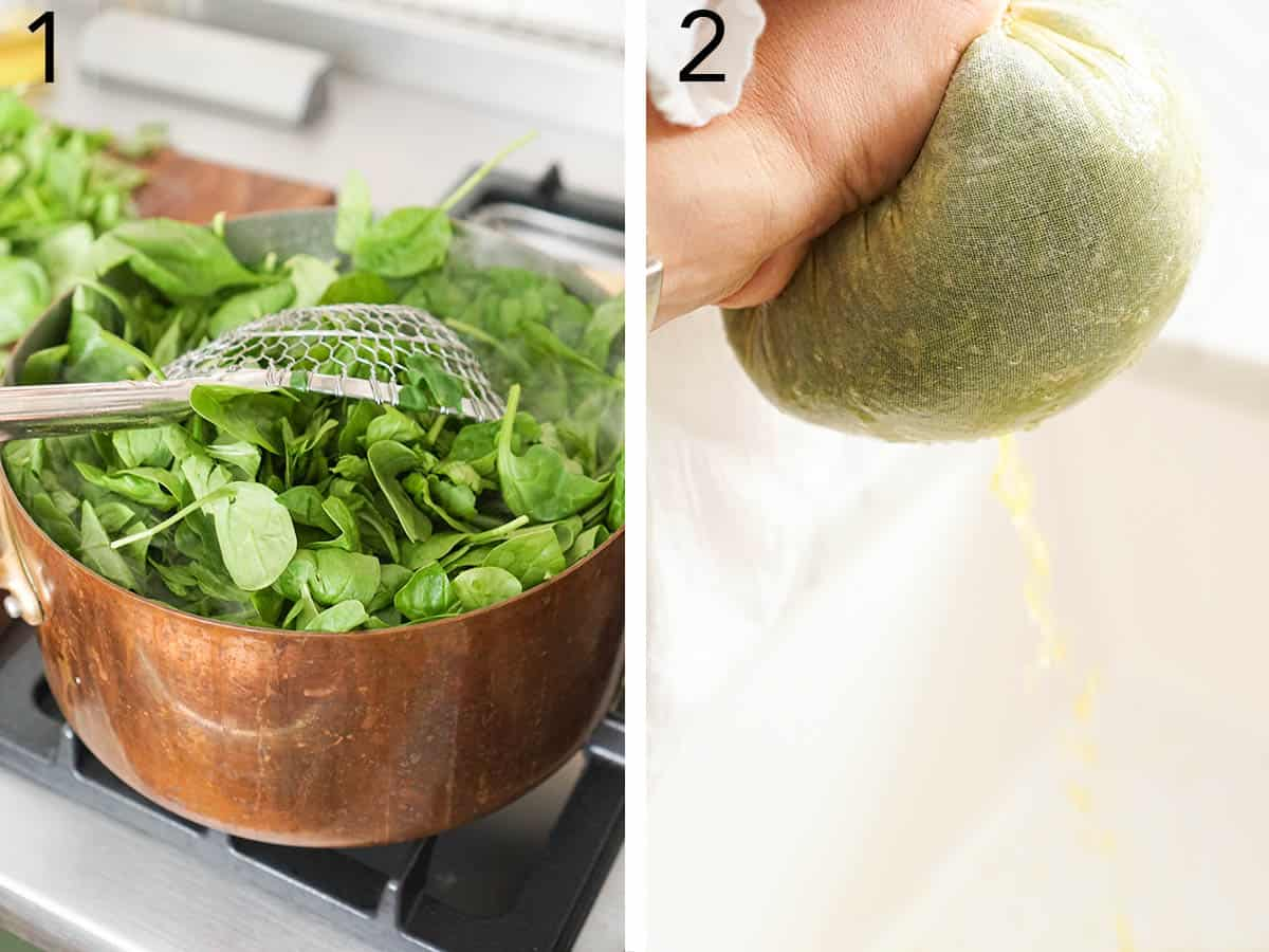 Spinach getting boiled and squeezed in a cloth.