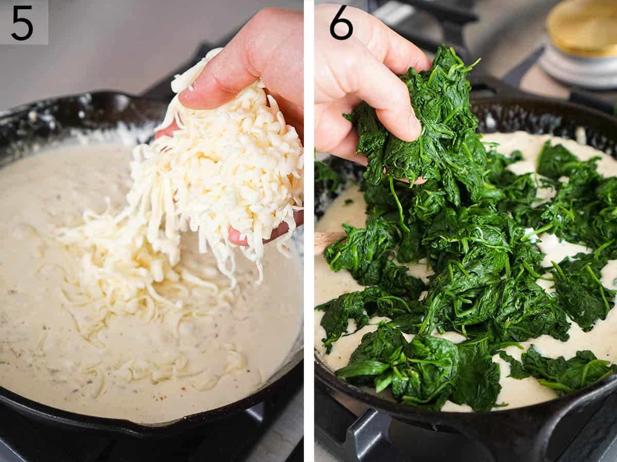 Spinach and cheese getting added to a skillet to make creamed spinach.