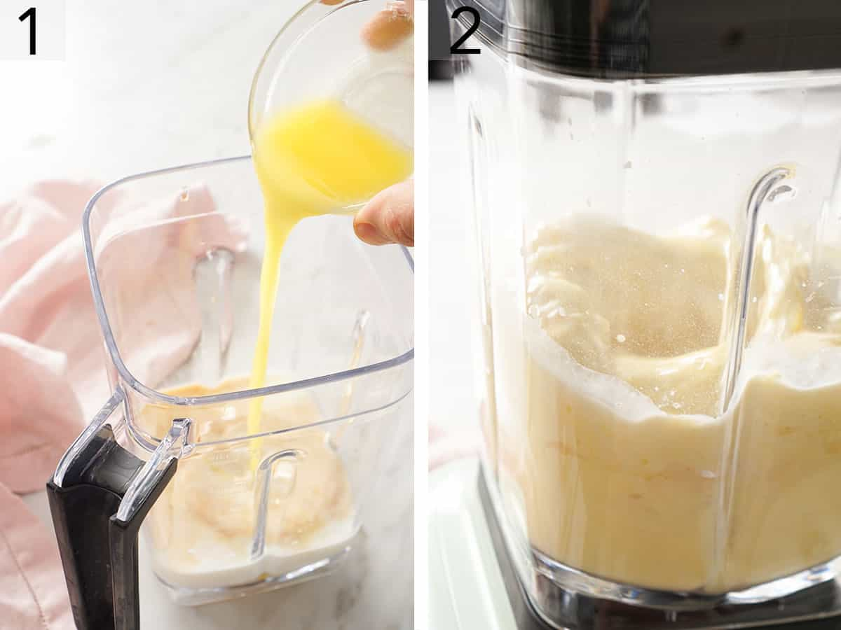 Crepe batter getting mixed in a blender.