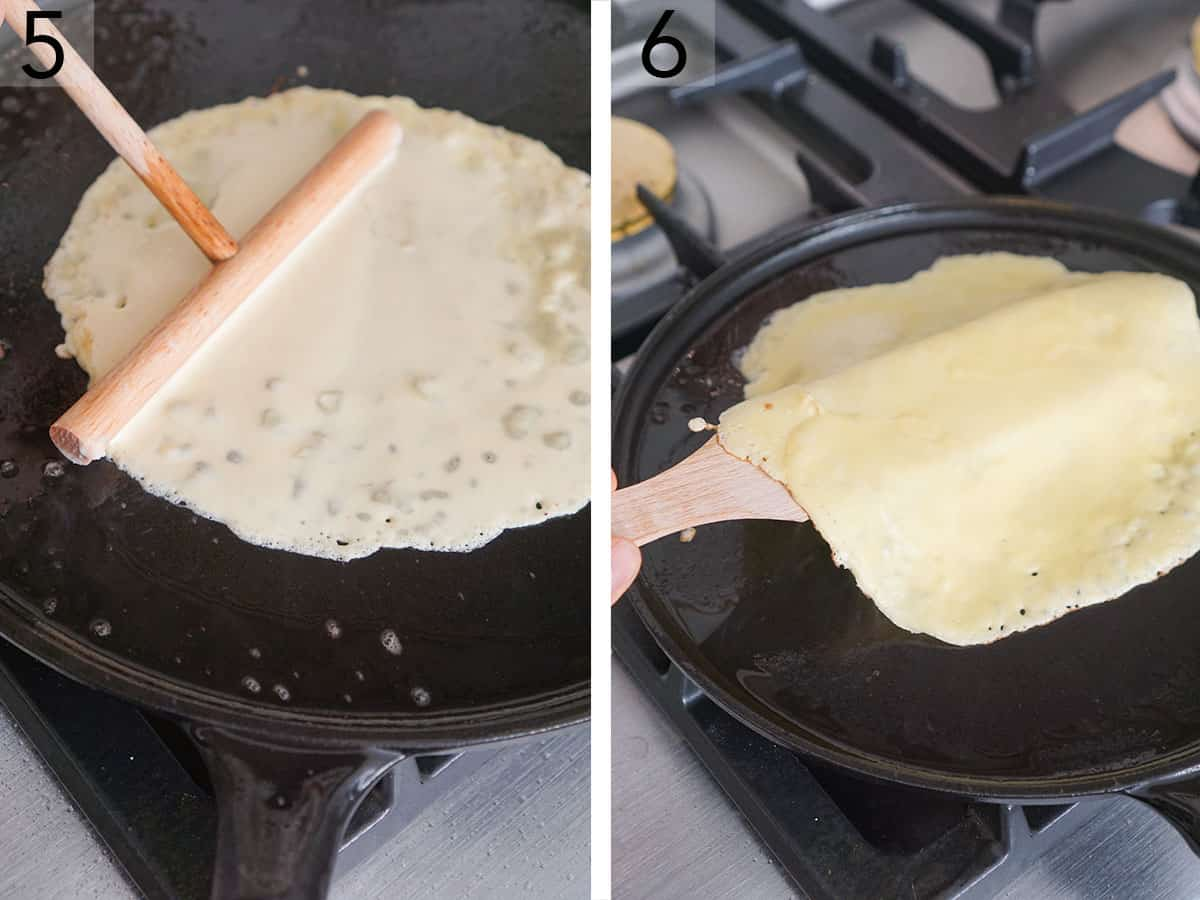 Crepes getting cooked in a crepe pan.
