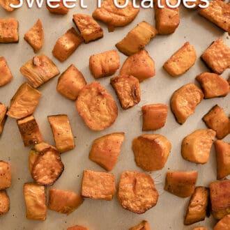Roasted sweet potatoes on a sheet pan