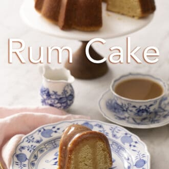 Piece of rum cake sitting on a blue and white plate