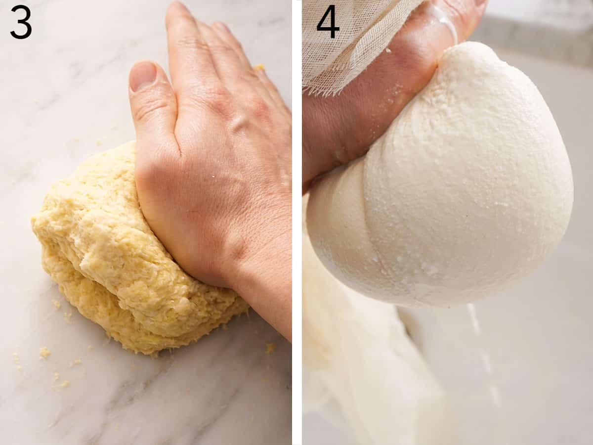 Ricotta cheese getting drained with a cheese cloth.