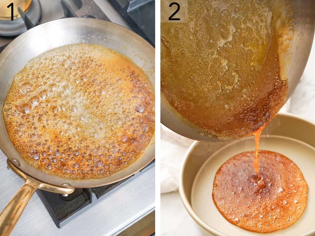 Caramels cooking in a pan then getting poured into a cake pan.
