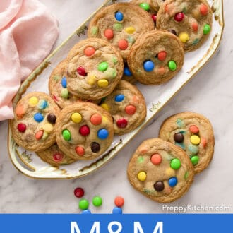 several M&M Cookies on a floral serving tray