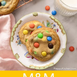 2 M&M Cookies on a floral plate
