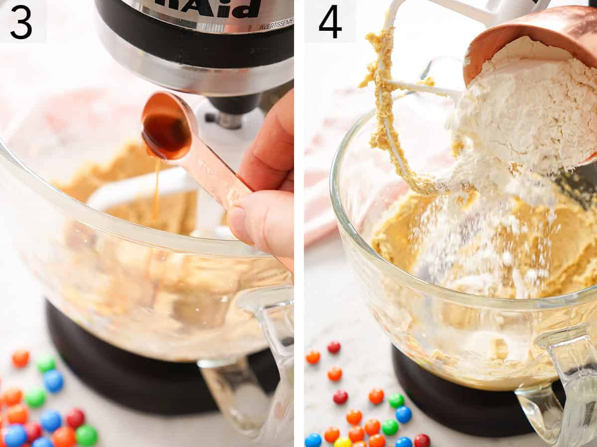Butter sugar and vanilla getting beaten together in a stand mixer.