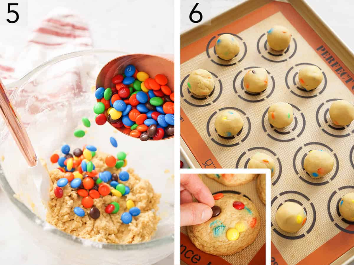 M&Ms getting folded into cookie batter.