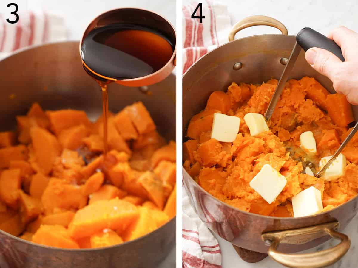 Maple syrup and butter getting mixed into sweet potatoes.