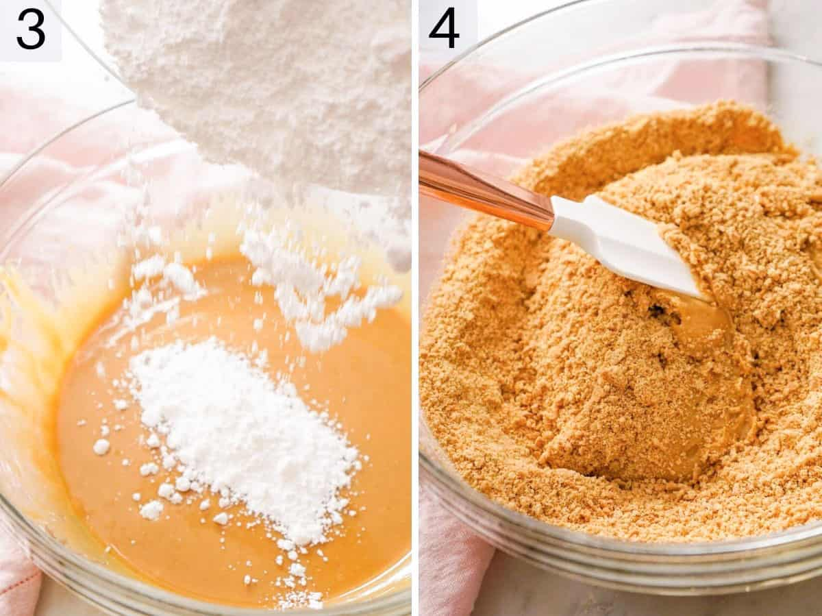 Two photos showing how to add powered sugar to peanut butter
