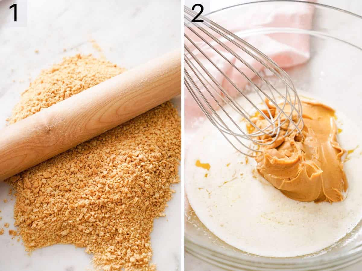 Two photos showing how to make graham cracker crumbs and whisk peanut butter and butter together