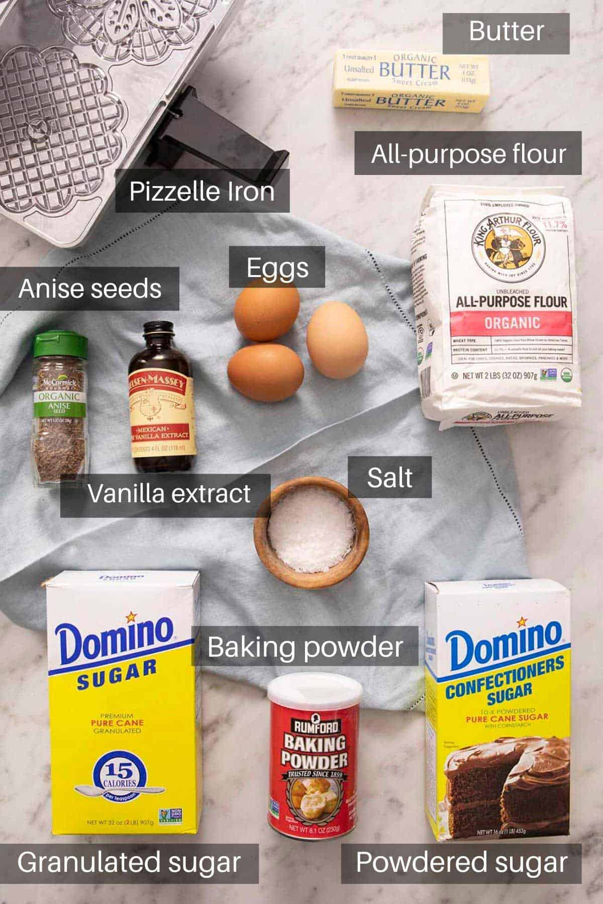 An overhead shot of all the ingredients you need to make Pizzelles