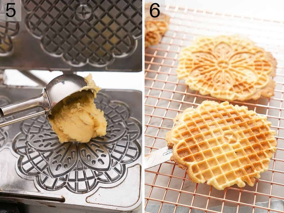 Two photos showing how to make pizzelle using an iron