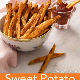 A bowl of freshly baked sweet potato fries.