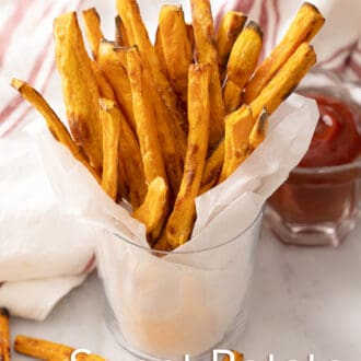 sweet potato fries in a serving cup