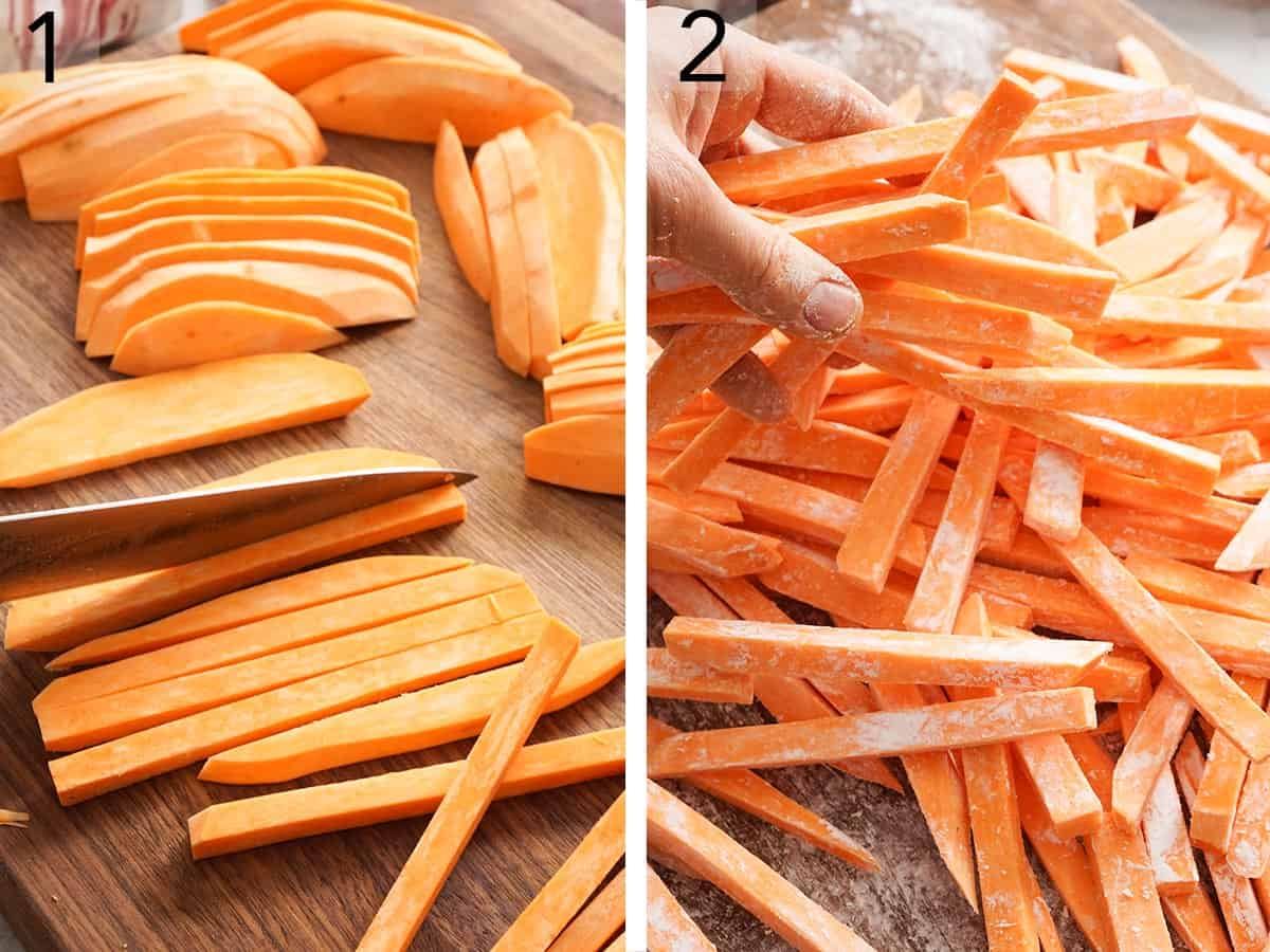 Sweet potatos getting cut into quarter inch sticks.