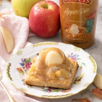 A square apple tart with ice cream and Baileys.