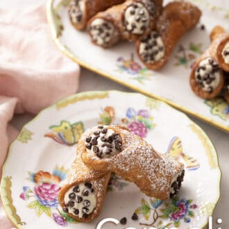 cannoli on a floral plate