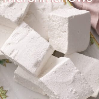 cubed marshmallows on a floral platter