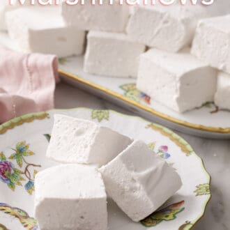 cubed marshmallows stacked on a floral plate