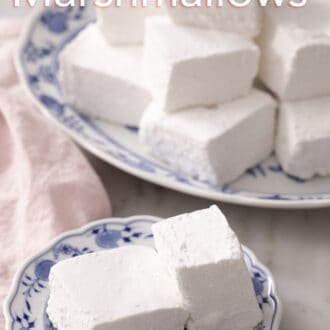 cubed marshmallows on a blue and white plate