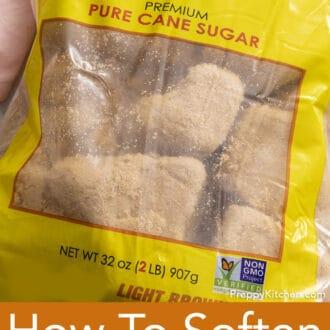 A bag full of lumps of hardened brown sugar