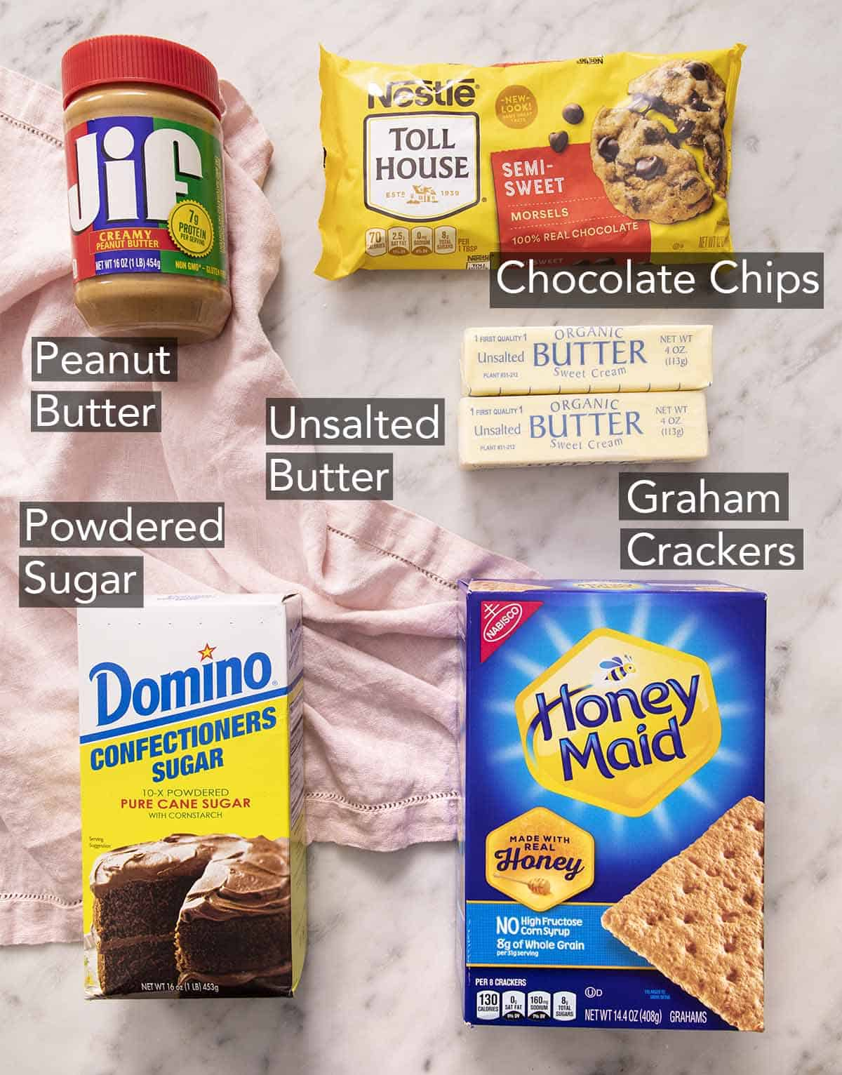 An overhead shot of all the ingredients you need to make peanut butter bars.