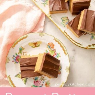 A pinterest graphic of peanut butter bars