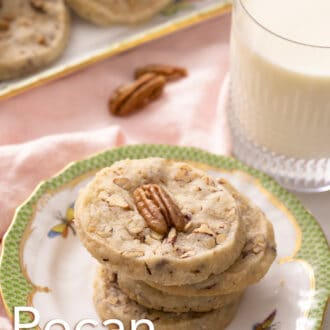 pecan sandies stacked on a plate