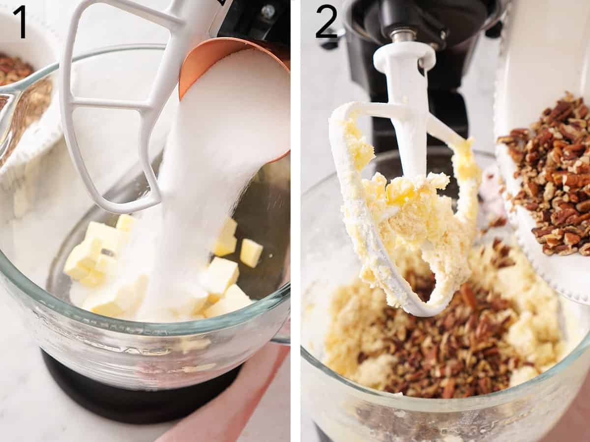 Butter and sugar getting creamed in a stand mixer before flour and pecans are added.