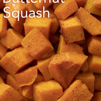 a close up cubed roasted butternut squash