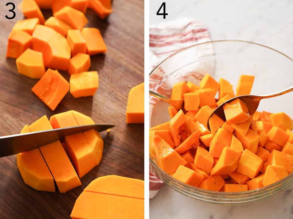 Butternut squash getting cut into one inch cubes.