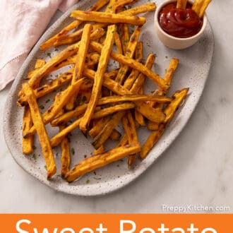 sweet potato fries on a ceramic platter