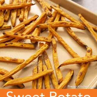 sweet potato fries on a sheet pan