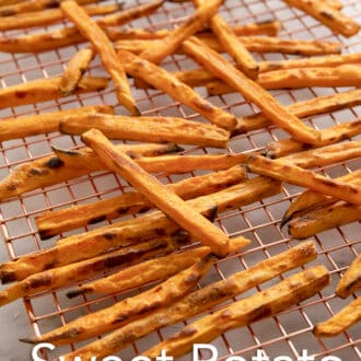 sweet potato fries on a cooling rack