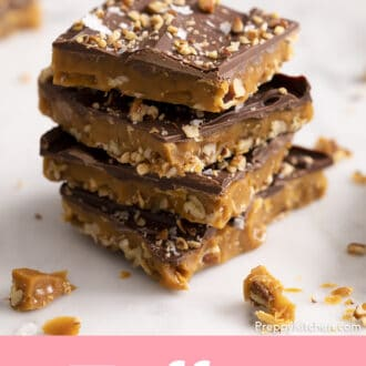 4 pieces of toffee stacked on a counter