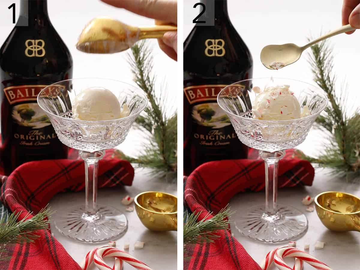 Two photos showing ice cream and crushed candy cane getting added to a glass.