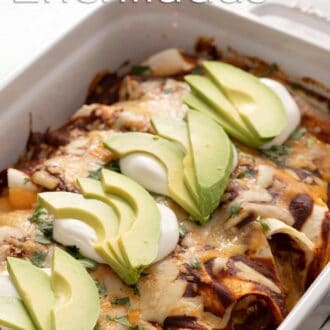 A pinterest graphic of chicken enchiladas