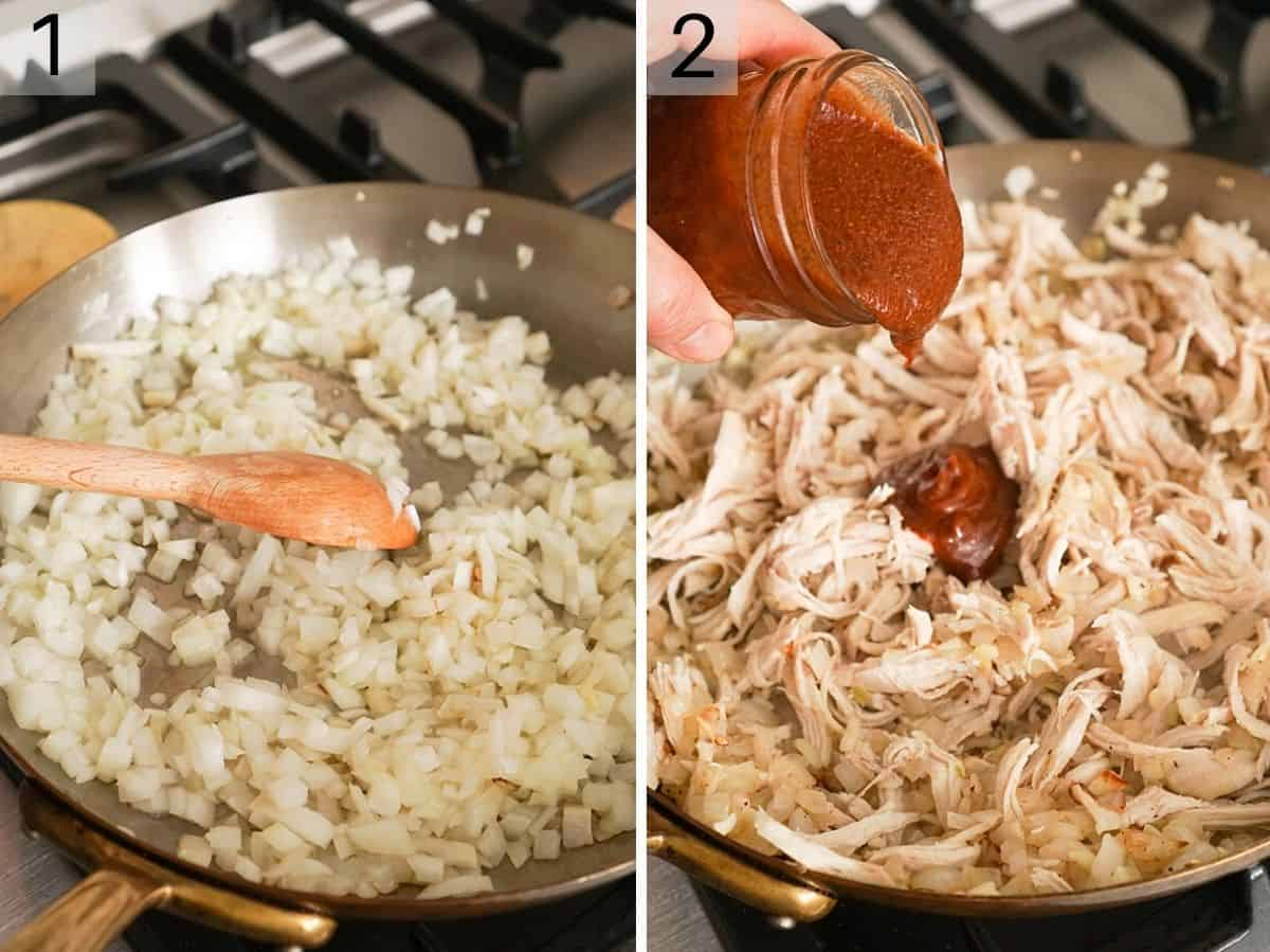 Two photos showing how to saute onions and chicken