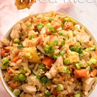 A pinterest graphic of chicken fried rice