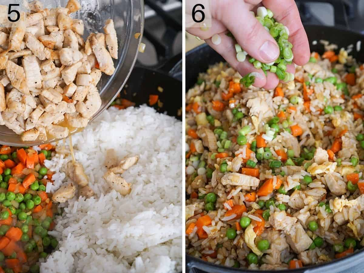 Two photos showing how to make chicken fried rice