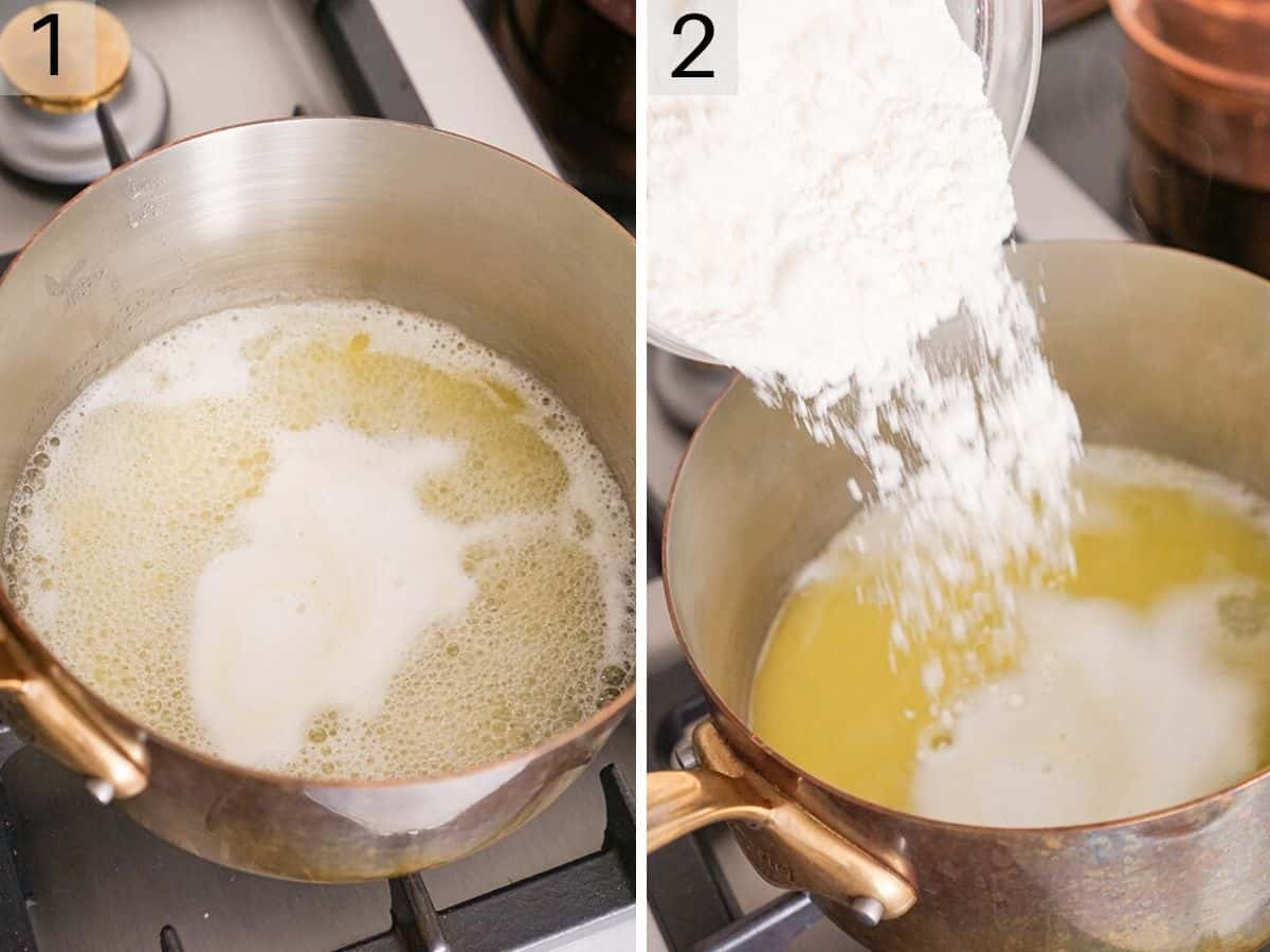Step by step photos showing how to add flour to a hot butter mixture