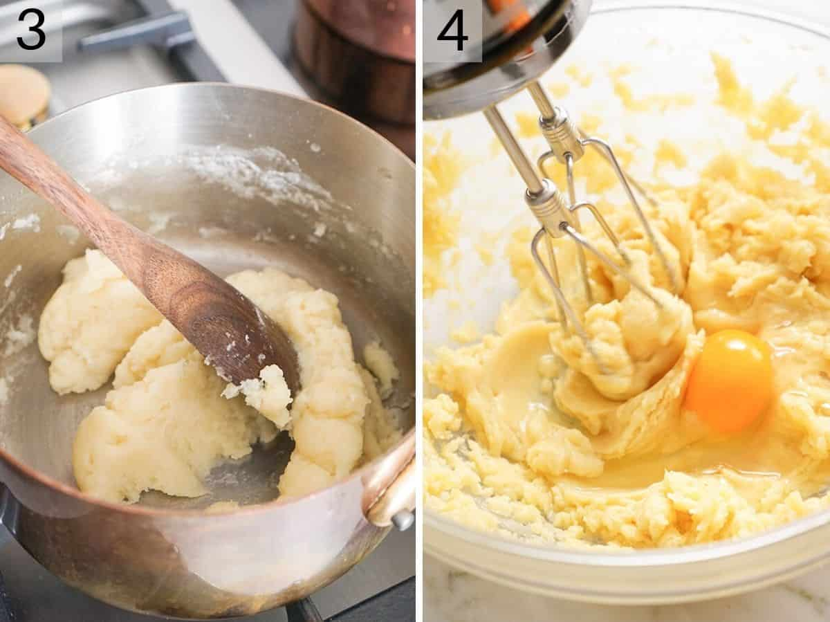 Step by step photos showing to make churros dough