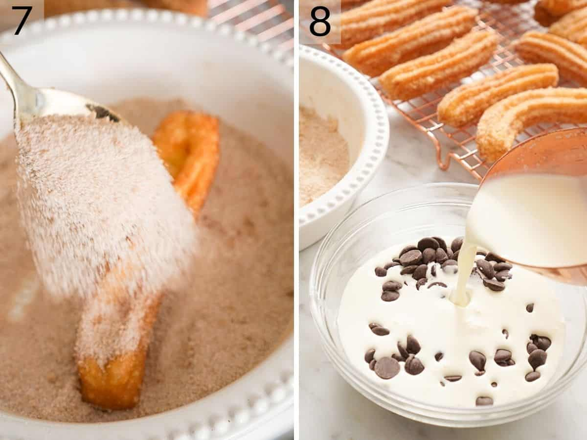 step by step photos showing how to roll churros in sugar and make a chocolate dip